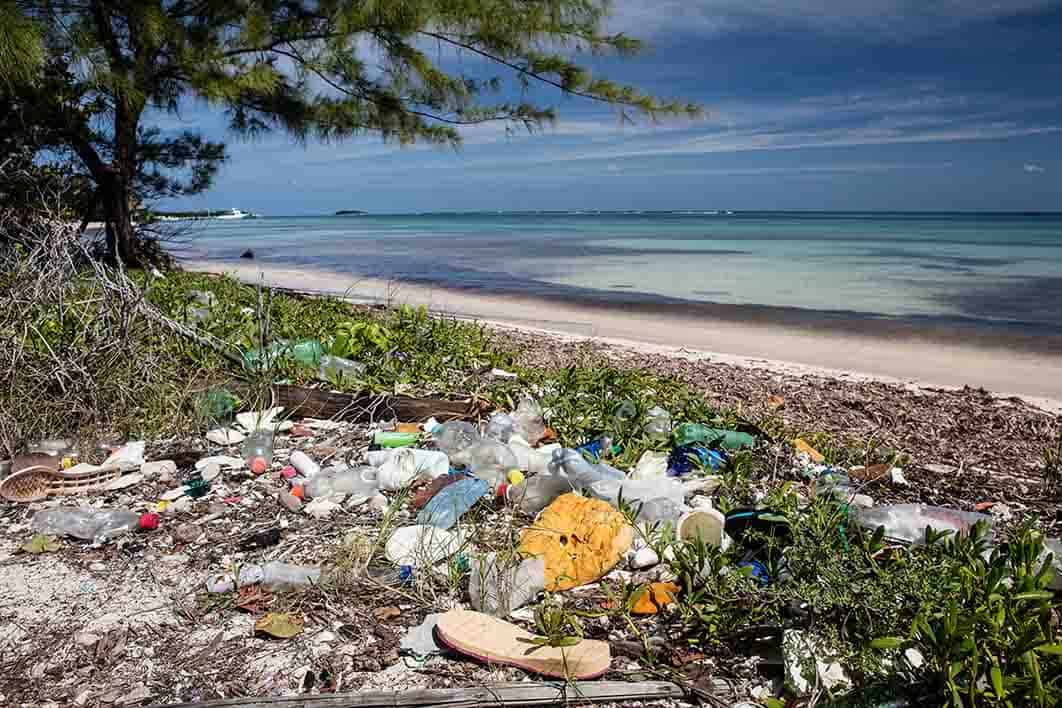 Plastic Washed Ashore on Tropical Beach